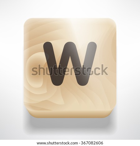 Wooden cube with letter W. Toy cube isolated on white background. Vector illustration.