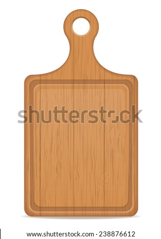 wooden cutting board vector illustration isolated on white background - stock vector