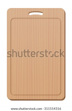 Wooden cutting board with grip - blank, simple, upright. Isolated vector illustration over white background.