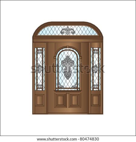 wooden door - stock vector