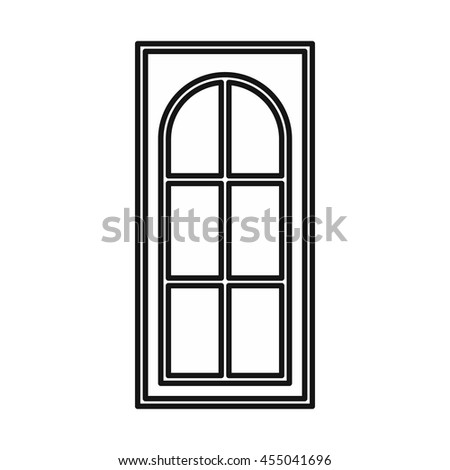 Wooden door with glass icon in outline style isolated vector illustration