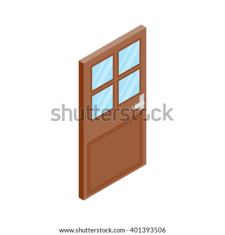 Wooden door with glass icon, isometric 3d style - stock vector