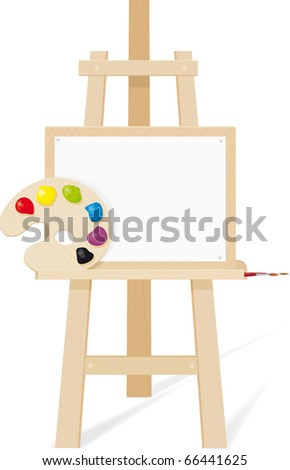 Wooden easel with a empty canvas, palette and brush - stock vector