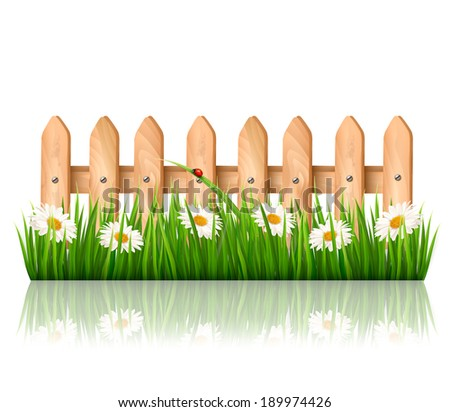 Wooden fence with grass and flowers. Vector. - stock vector