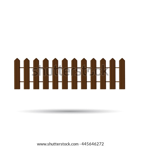 Wooden fence with shadow on a white background - vector illustration.