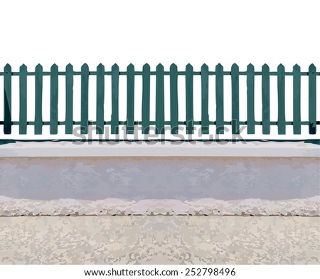 Wooden fence with stone floor . Vector illustration. (ideal for photo background or to place picture behind the railing.