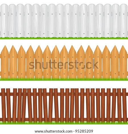 Wooden fences, vector illustration - stock vector