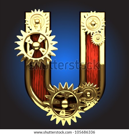 wooden figure with gears made in vector - stock vector