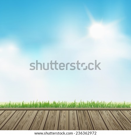 wooden floor with grass over blue sky background  - stock vector