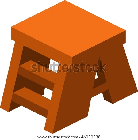 Wooden footstool on white background - stock vector