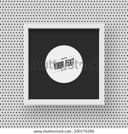 Wooden frame design with black and white polka dot pattern wallpaper background for your content Eps 10 stock vector illustration  - stock vector
