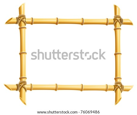 wooden frame of bamboo sticks vector illustration isolated on white background - stock vector