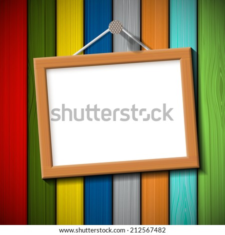 wooden frame on a colored wall - stock vector