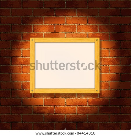 Wooden frame on the grunge brick wall - stock vector