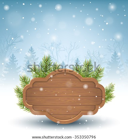 Wooden Frame with Pine Branches in Snow on Blue Background - stock vector
