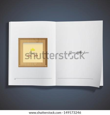 Wooden framework printed on book. Vector design  - stock vector