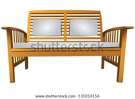 Wooden garden bench with cushions. Vector illustration. - stock vector