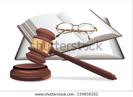 wooden gavel, glasses and books isolated on white - stock vector