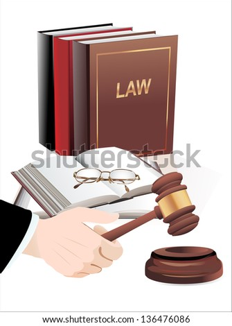 wooden gavel in hand and law books isolated on white - stock vector