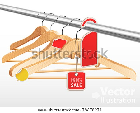 Wooden hangers with sale tags and stickers. Vector illustration. - stock vector
