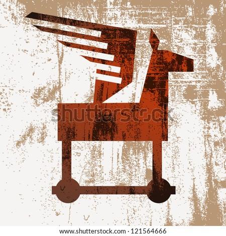 Wooden horse - stock vector