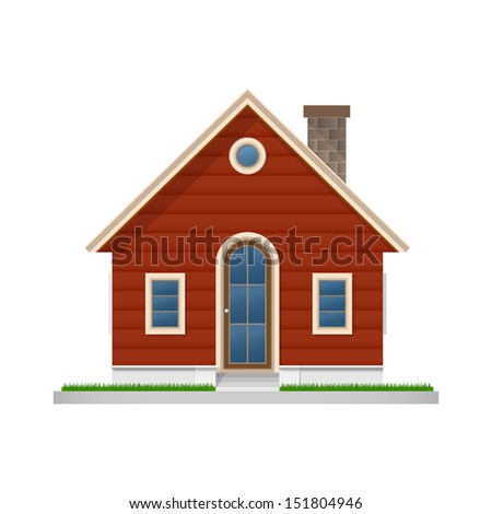 Wooden house icon on white background - Vector illustration - stock vector
