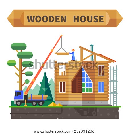 Wooden house in the forest. Construction process. Vector flat illustration. - stock vector