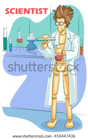 Wooden human mannequin Scientist doing research in Lab. Vector illustration