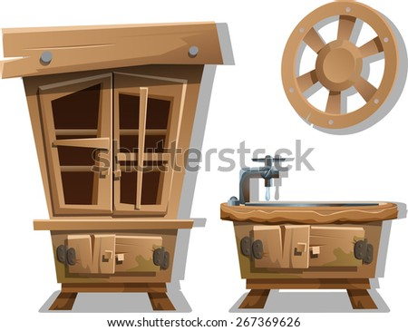wooden kitchen furniture in the style of Western - stock vector