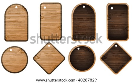 Wooden labels - stock vector