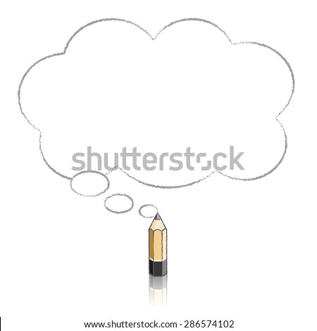 Wooden Lead Pencil with Reflection Drawing Fluffy Cloud Shaped Think Bubble on White Background - stock vector