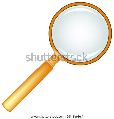 wooden magnifying glass against white background, abstract vector art illustration - stock vector