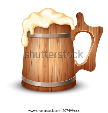 Wooden mug full of beer, with froth, vector illustration  - stock vector