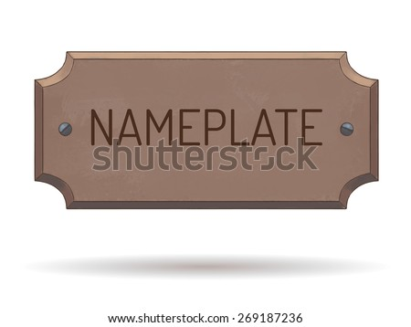 Wooden name plate with bolts. Text template. Vector watercolor illustration. Hand drawn - stock vector