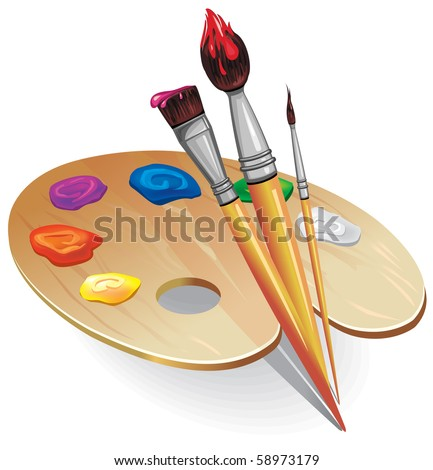 Wooden palette with brushes - stock vector