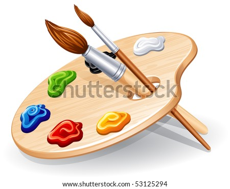 Wooden palette with paints and brushes - vector illustration. - stock vector