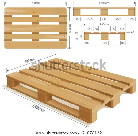 Wooden pallet in perspective, front and side view with dimensions. - stock vector