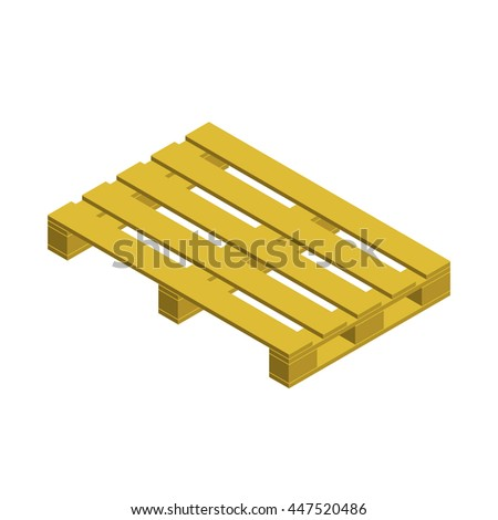 Wooden pallet. Isolated on white background. 3d isometric style.3d Vector illustration.