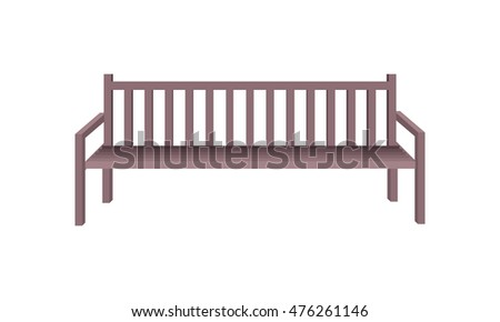Wooden park bench. Brown wooden bench icon. One isolated outdoor bench. City object in flat. Simple drawing. Isolated vector illustration on white background.