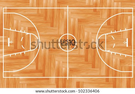 Wooden parquet floor basketball court. Vector illustration
