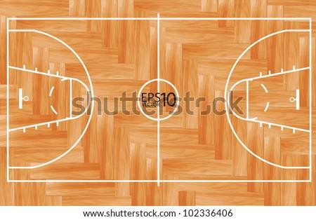 Wooden parquet floor basketball court. Vector illustration - Basketball Court Outline Wooden Floor Gymnasium Stock Vector