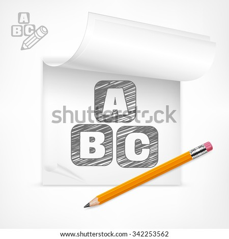 Wooden pencil and letters symbol in notepad, vector illustration - stock vector