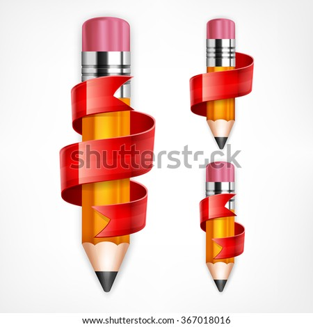 Wooden pencils with red ribbons on white, vector illustration - stock vector