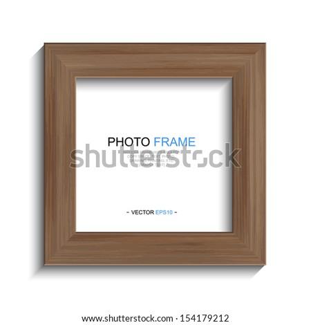 Wooden photo frame on white background  - Vector illustration - stock vector