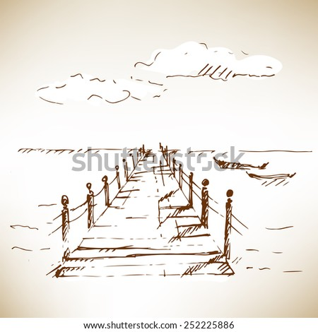 Wooden pier at sea with cloudscape. Sketch on brown paper. Vector illustration. - stock vector