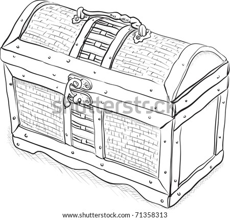 Wooden pirate chest - a simple monochrome eps8 vector illustration - stock vector