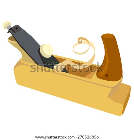 Wooden plane, boards and a shaving on a white background. Vector illustration.