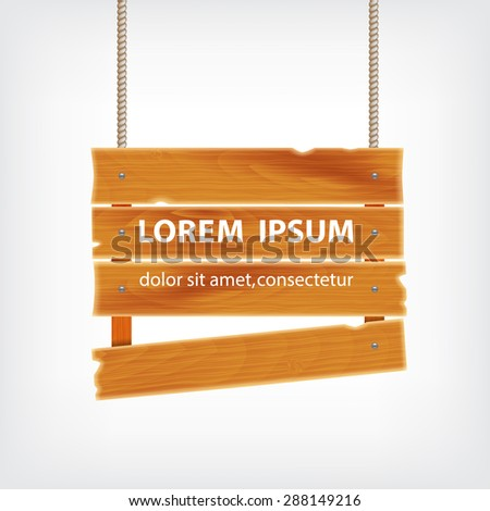 Wooden plank on rope. Background with wooden plank. EPS10 vector - stock vector