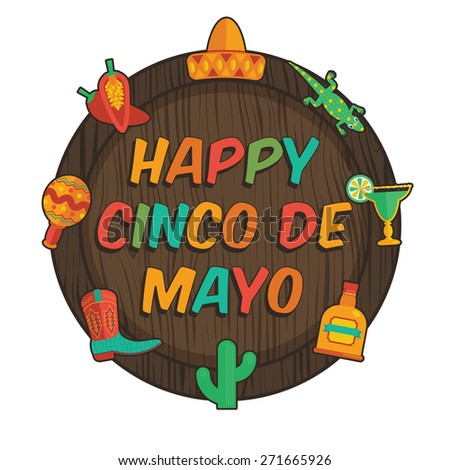 wooden plaque with mexican cinco de mayo decorations, isolated on white - stock vector