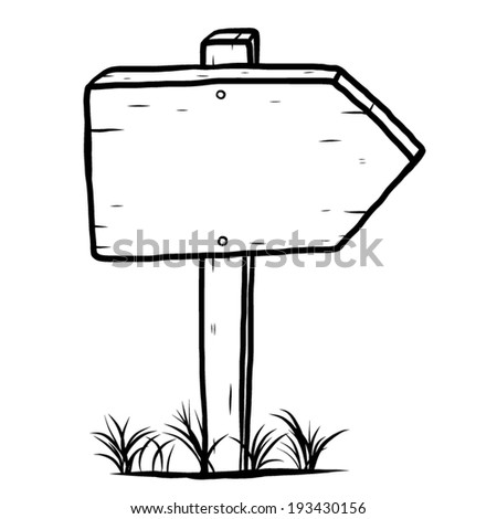 wooden plate, placard / cartoon vector and illustration, black and white, hand drawn, sketch style, isolated on white background. - stock vector